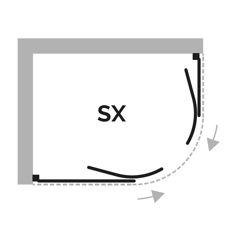 cristalli e raggio box doccia semicircolare